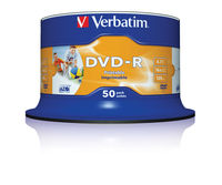 DVD-R 16 speed 4.7Gb white inkjet wide printable 50 disk cake box