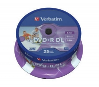 Verbatim 43667 inkjet printable dual layer DVD+R 8.5Gb 8x speed 25 disks a cake box