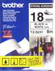 P Touch 18mm black on white strong adhesive TZ-S241 laminated, 8 metres