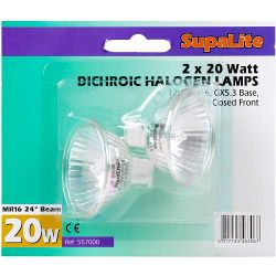 Halogen Dichroic Lamps MR16 - 2 Pack Blister 12v 20w 24